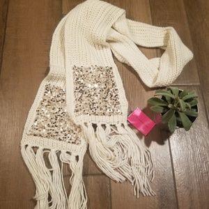 Betsey Johnson cream sequin pocket knit scarf gold